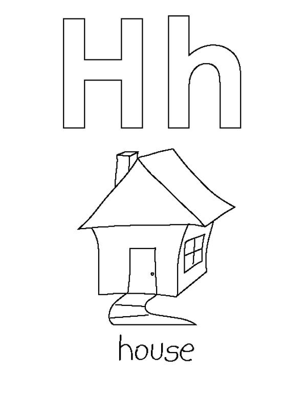 Letter H, : Letter H is for House Coloring Page