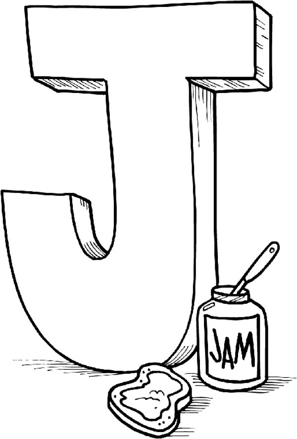 Letter J, : Letter J is for Jam Coloring Page