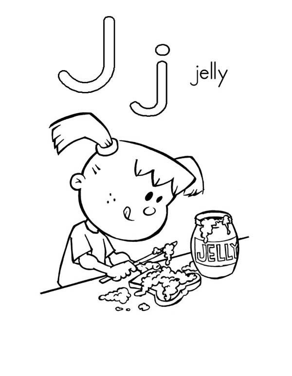 Letter J, : Letter J is for Jelly Coloring Page