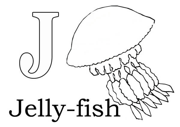 Letter J, : Letter J is for Jellyfish Coloring Page