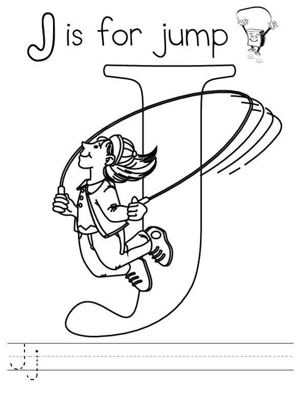 Letter J, : Letter J is for Jump Worksheet Coloring Page