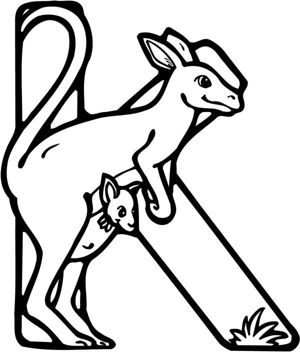 Letter K, : Letter K Coloring Page for Kangaroo