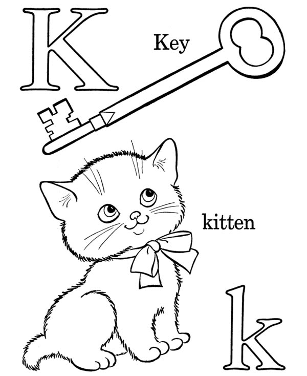 Letter K, : Letter K Words Coloring Page