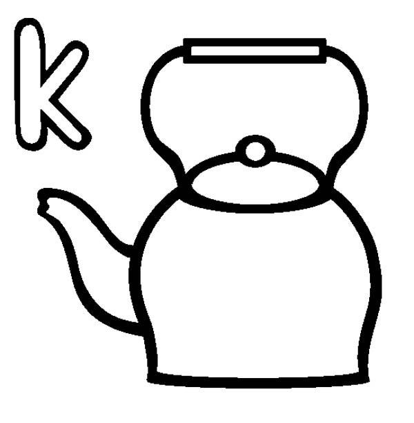 Letter K, : Letter K is for Kettle Coloring Page