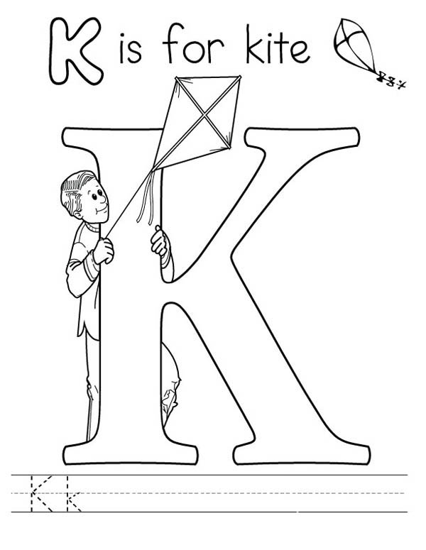 Letter K, : Letter K is for Kite Coloring Page
