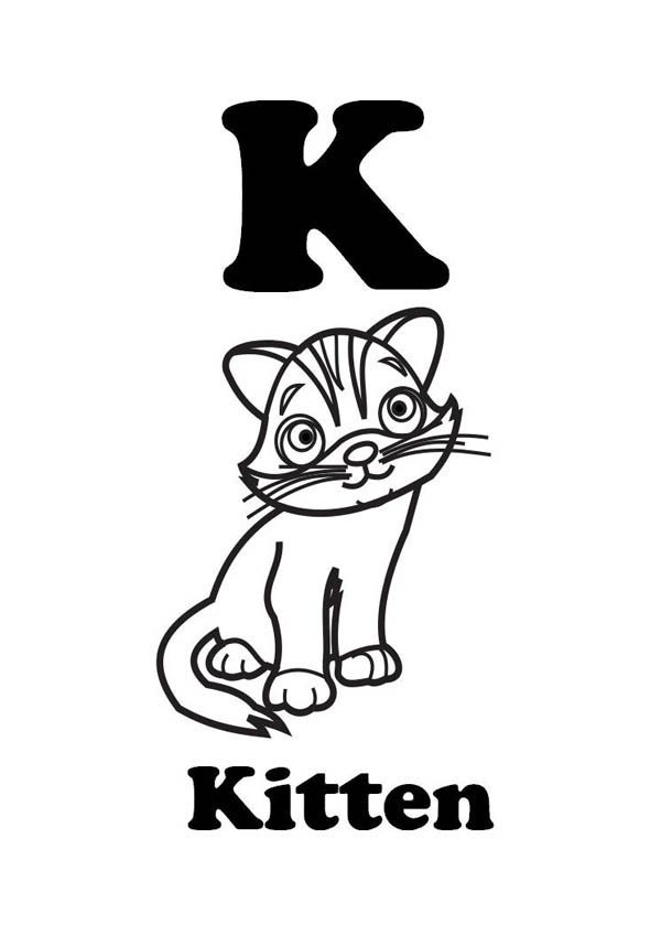 Letter K, : Letter K is for Kitten Coloring Page