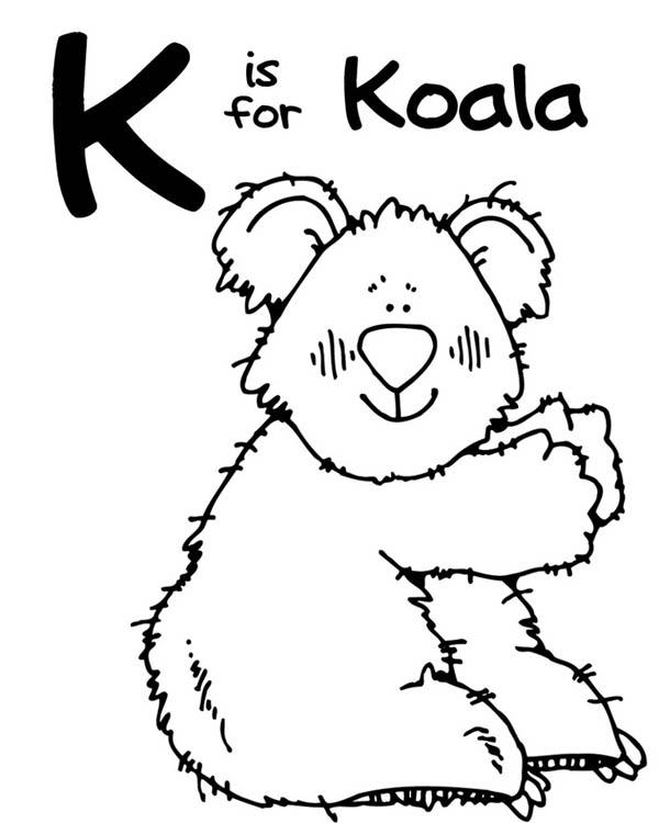 Letter K, : Letter K is for Koala Coloring Page