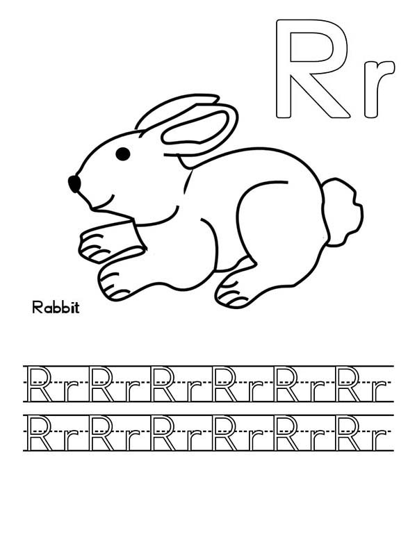 Letter R, : Letter R for Rabbit Worksheet Coloring Page