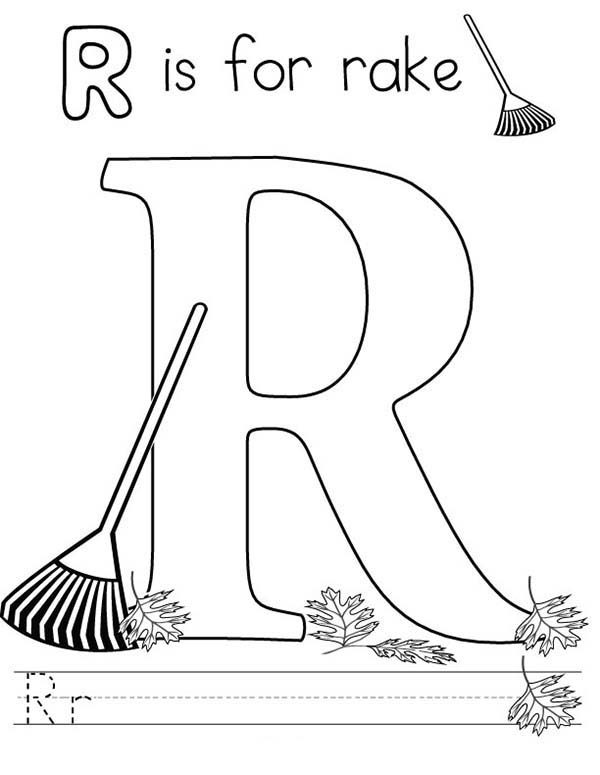 Letter R, : Letter R for Rake Coloring Page
