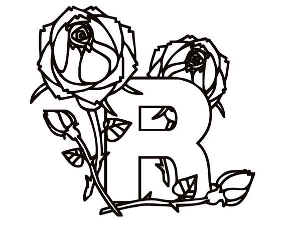 Letter R, : Letter R is Rose Coloring Page