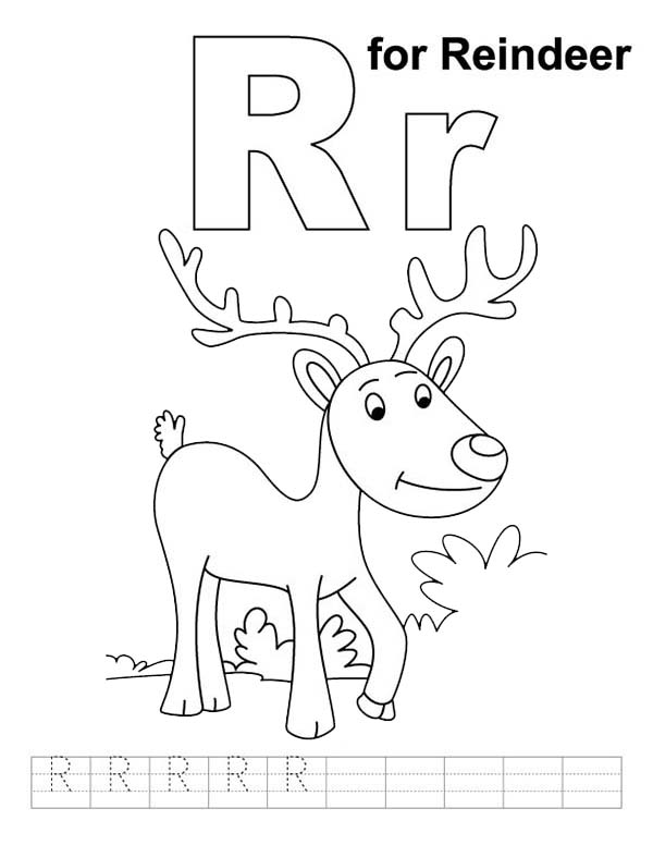 Letter R, : Letter R is for Reindeer Coloring Page