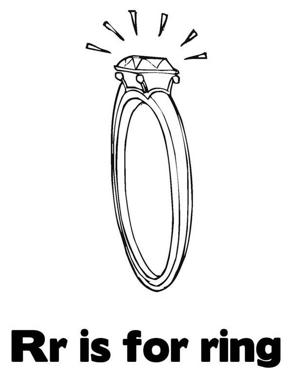 Letter R, : Letter R is for Ring Coloring Page