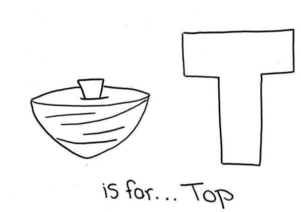 Letter T, : Letter T is for Top Word Coloring Page