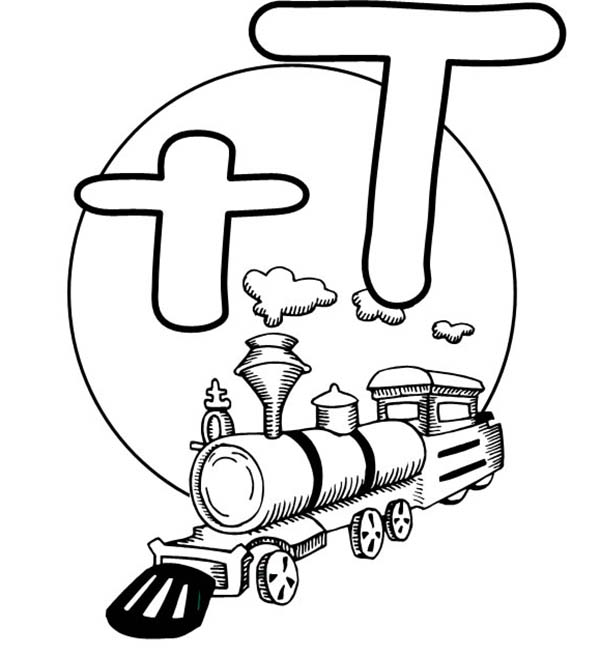 Letter T, : Letter T is for Train Coloring Page for Preschool Kids