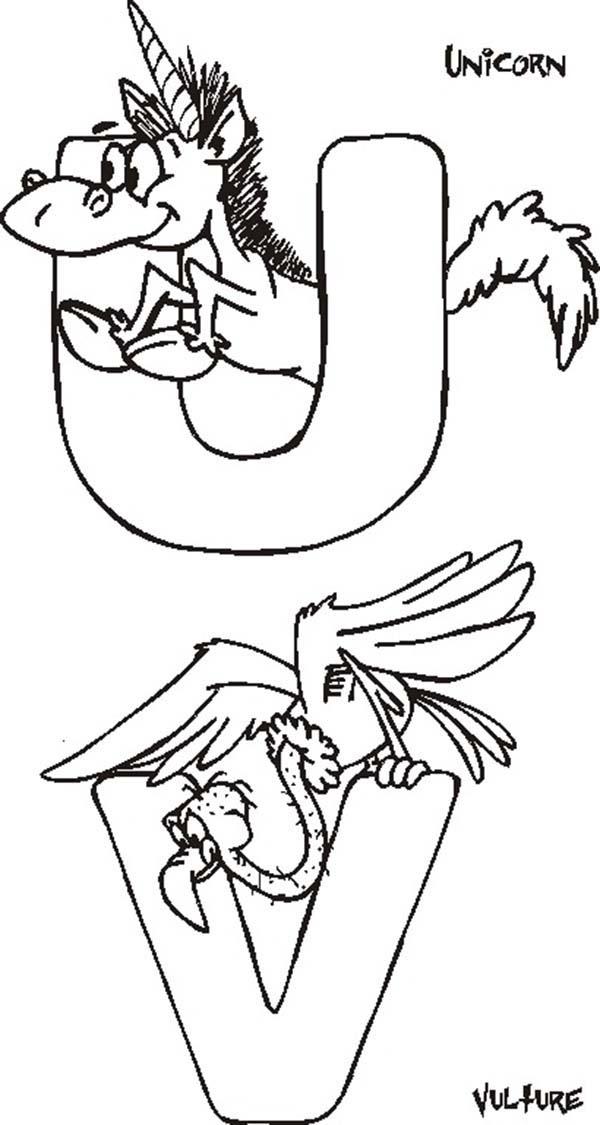 Letter U, : Letter U and Letter V Coloring Page