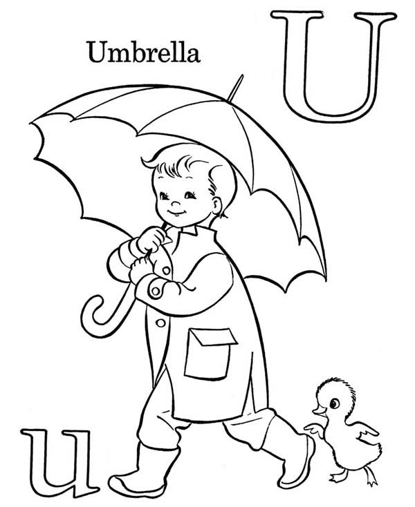 Letter U, : Letter U for Learn ABC Coloring Page