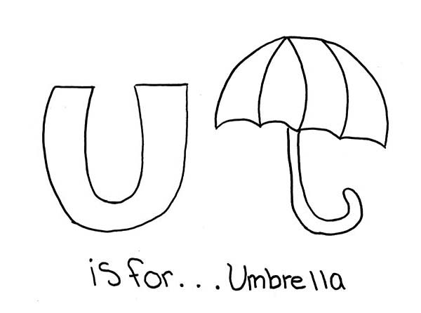 Letter U, : Letter U is for Umbrella Coloring Page