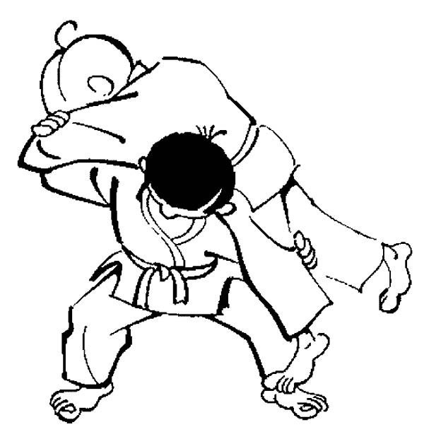 Judo, : Lifting Opponent in Judo Coloring Pages