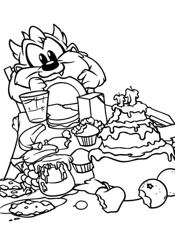 Looney Tunes, : Looney Tunes Coloring Pages Taz Eating a Lot of Cake