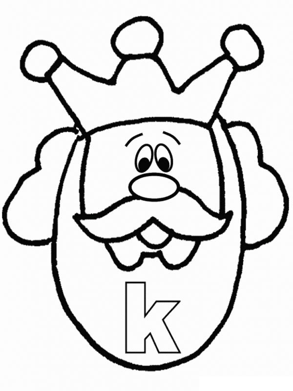 Letter K, : Lower Case Letter K for King Coloring Page