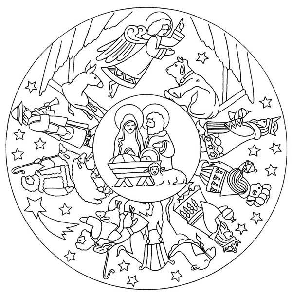 Mandala Animal, : Mandala Animal on the Day Jesus Born Coloring Pages