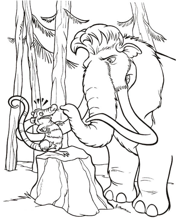 Ice Age, : Mannie Talk to Eddie in Ice Age Coloring Pages