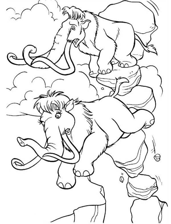 Ice Age, : Mannie and Ellie Almost Fall from Stack of Rock in Ice Age Coloring Pages
