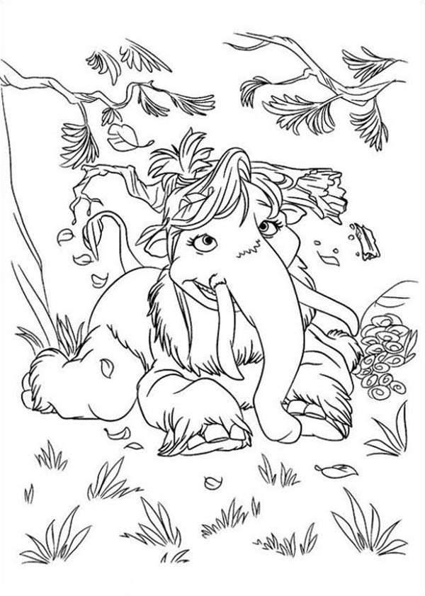 Ice Age, : Mannie and Ellie Daughter Peaches from Ice Age Coloring Pages