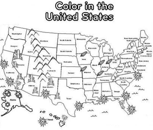 Maps, : Maps Coloring Pages USA
