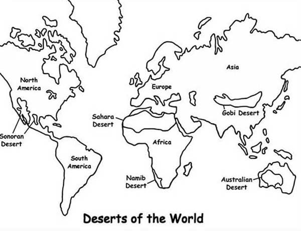 Maps, : Maps Deserts of the World Coloring Pages