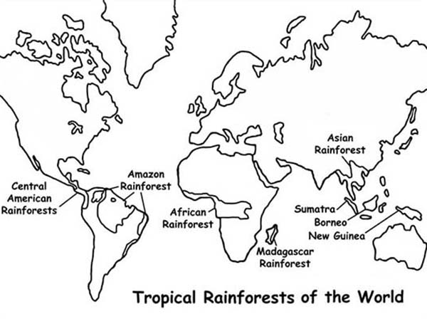 Maps, : Maps of Tropical Rainforests of the World Coloring Pages