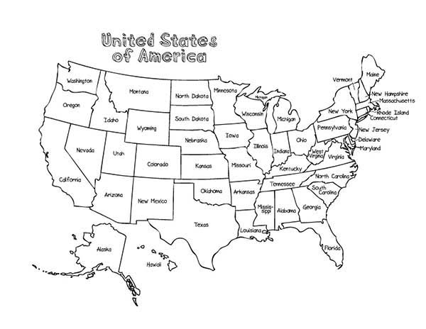 Maps, : Maps of United States of America Coloring Pages