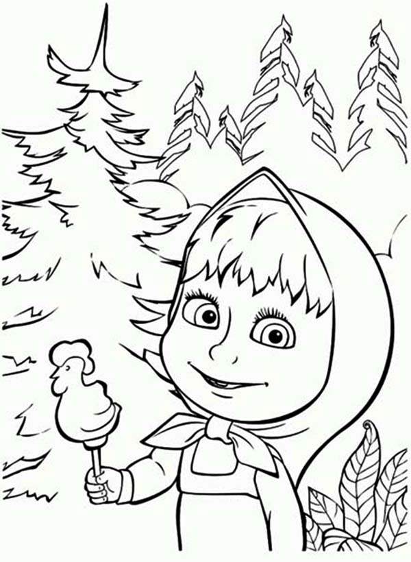 Mascha and Bear, : Mascha Eat Candy Chicken Shaped Mascha and Bear Coloring Pages