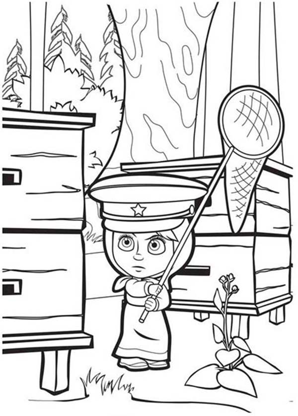 Mascha and Bear, : Mascha Get Closed to Beehive in Mascha and Bear Coloring Pages