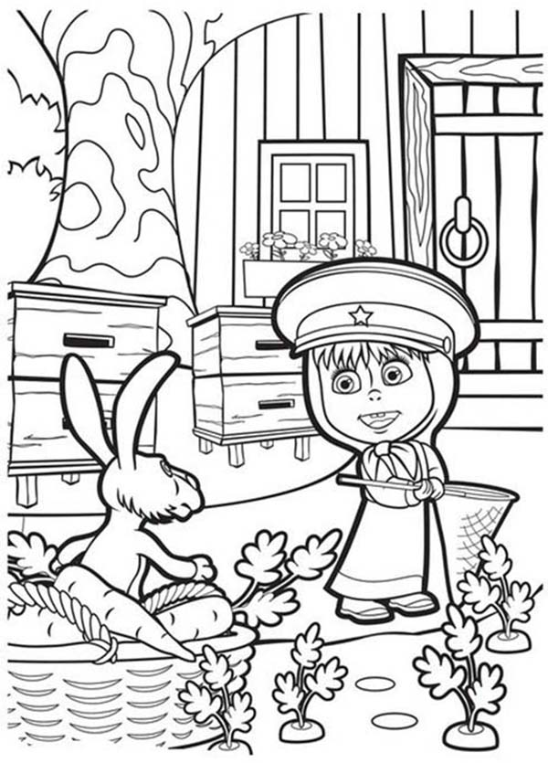 Mascha and Bear, : Mascha Help Rabbit Picking Carrot in Mascha and Bear Coloring Pages