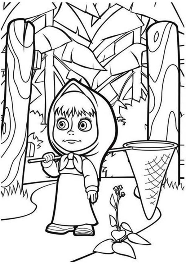 Mascha and Bear, : Mascha Lost in the Wood in Mascha and Bear Coloring Pages