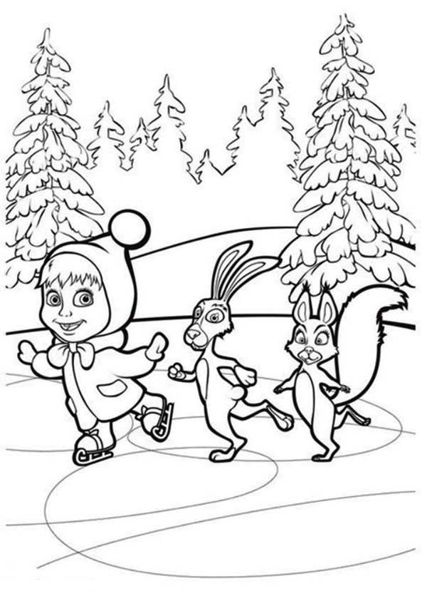 Mascha and Bear, : Mascha Skating with Rabbit and Squirrel in Mascha and Bear Coloring Pages