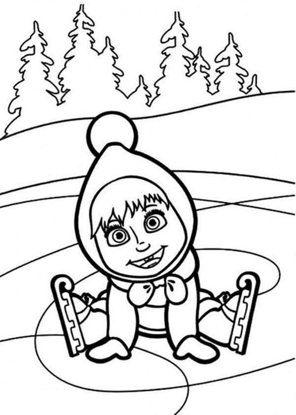Mascha and Bear, : Mascha Smiling After Falling on Ice in Mascha and Bear Coloring Pages