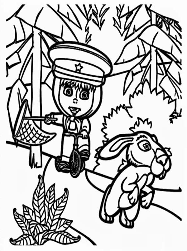 Mascha and Bear, : Mascha Trying to Catch Rabbit in Mascha and Bear Coloring Pages