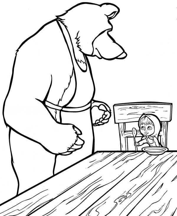 Mascha and Bear, : Mascha Want to Eat in Mascha and Bear Coloring Pages
