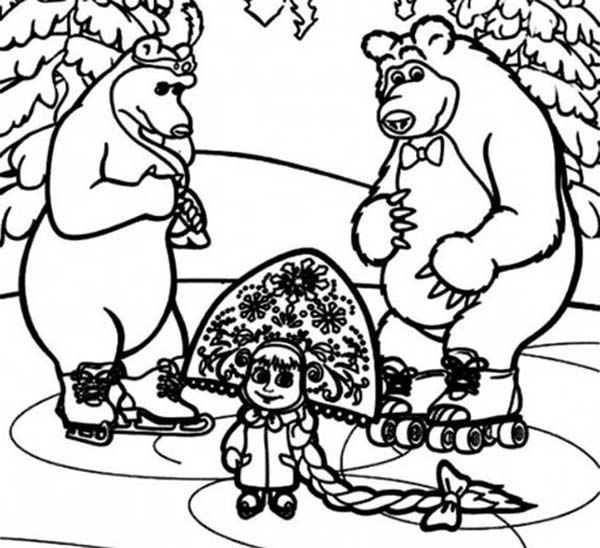 Mascha and Bear, : Mascha and Bear Coloring Pages for Kids