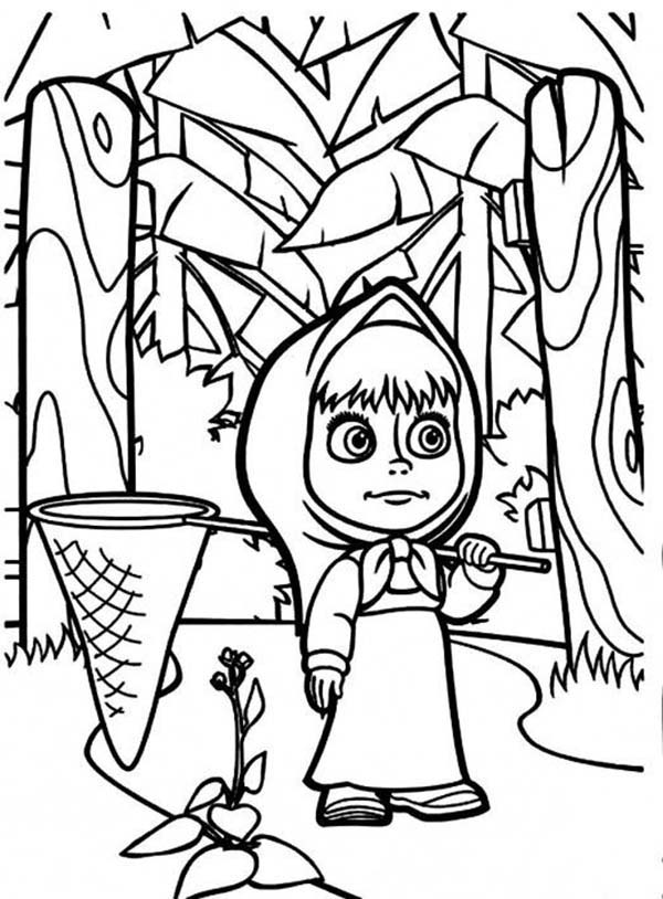 Mascha and Bear, : Mascha and Bear Coloring Pages in the Jungle Want to Catch Butterfly