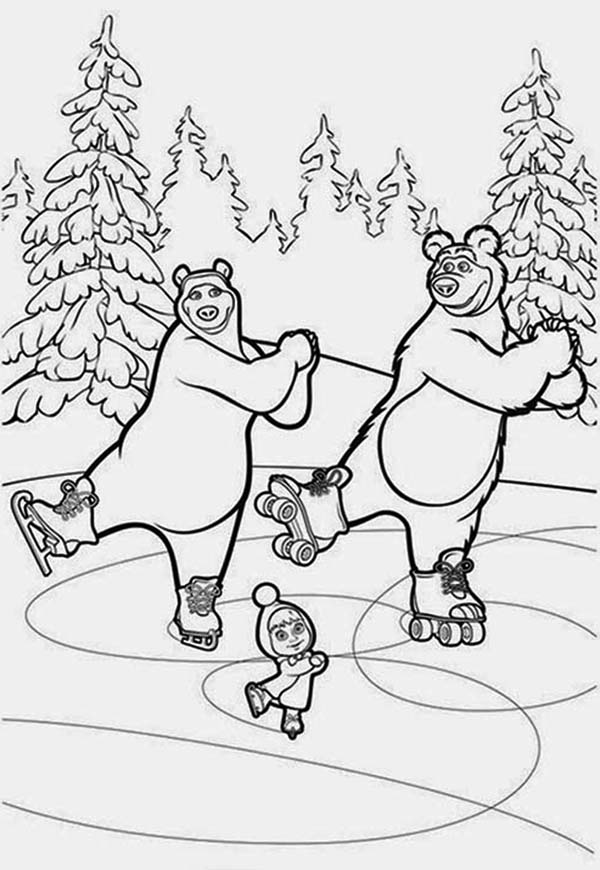 Mascha and Bear, : Mascha and Bear Dancing on Ice in Coloring Pages
