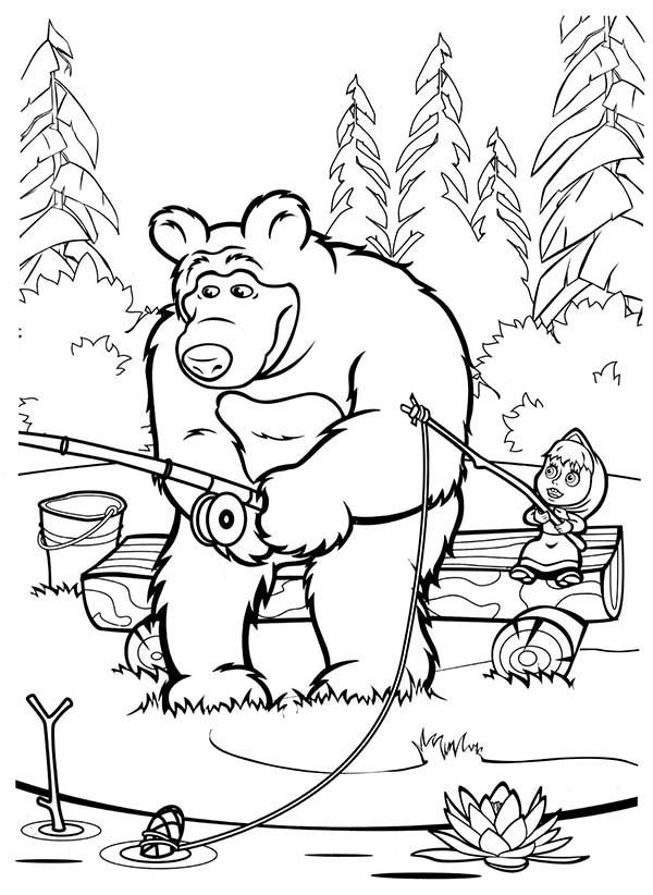 Mascha and Bear, : Mascha and Bear Fishing at Lake Coloring Pages