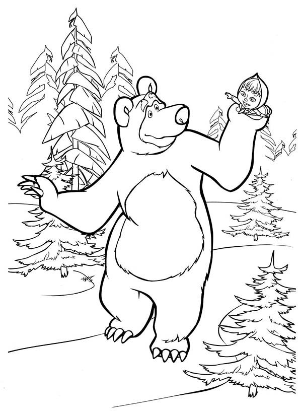 Mascha and Bear, : Mascha and Bear Holding Mascha in His Hand Coloring Pages