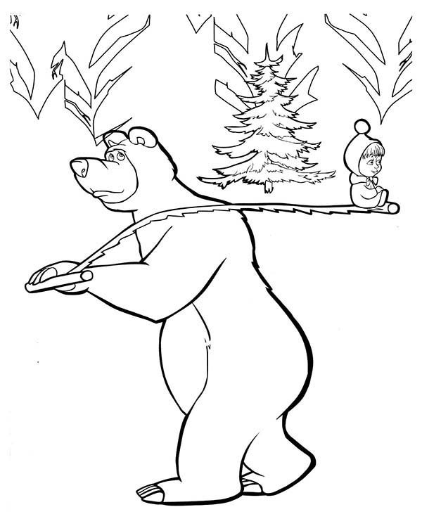 Mascha and Bear, : Mascha and Bear Looking for Christmas Tree Coloring Pages