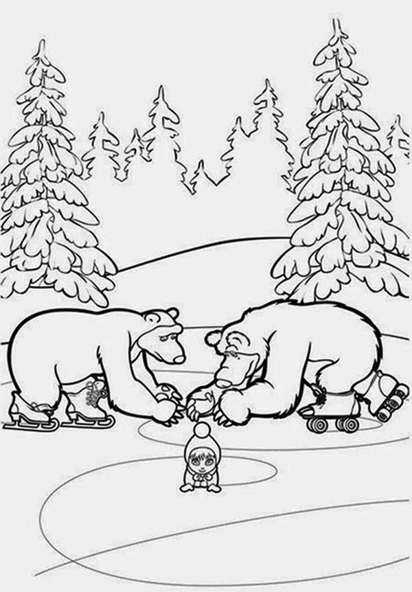 Mascha and Bear, : Mascha and Bear Skating Together Coloring Pages