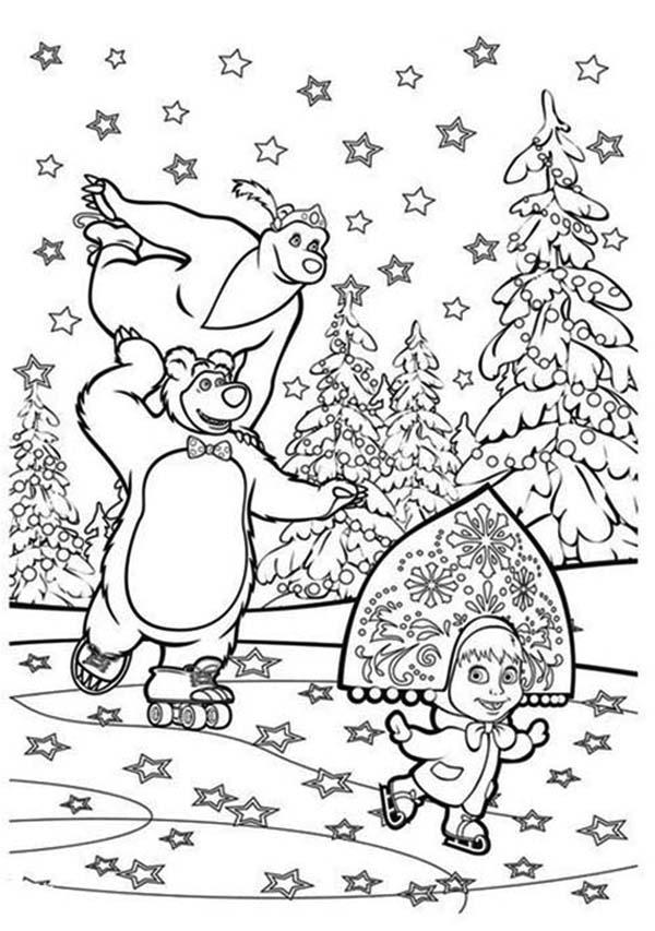 Mascha and Bear, : Mascha and Bear Skating with Stars Coloring Pages