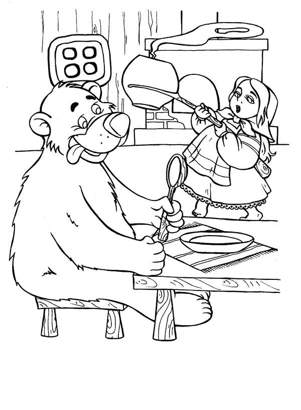 Mascha and Bear, : Mascha and Bear Want to Eat Soup Coloring Pages