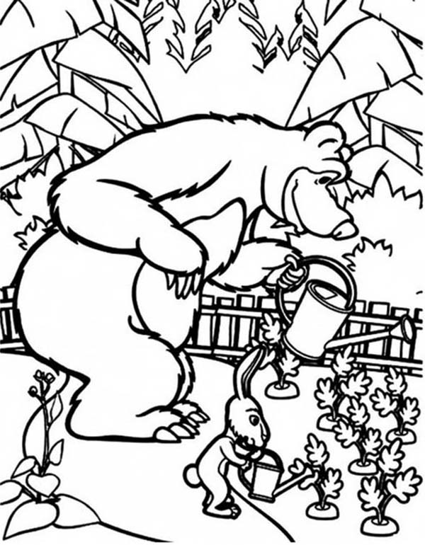Mascha and Bear, : Mascha and Rabbit Watering Carrot in Mascha and Bear Coloring Pages